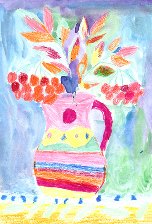 child's drawing: Childs drawing of a colorful bouquet Stock Photo