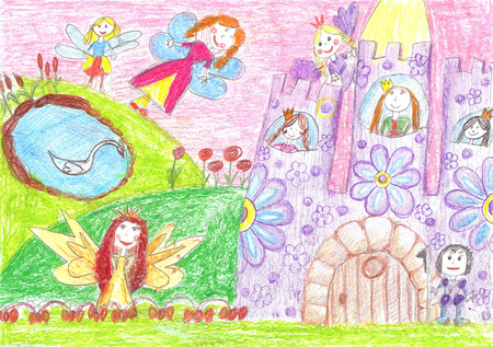fairy tale princess: Fairy of a tale, princess, prince. Children drawing