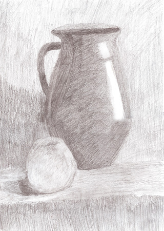 still: Drawing still life. Jug and apple on the table. Stock Photo