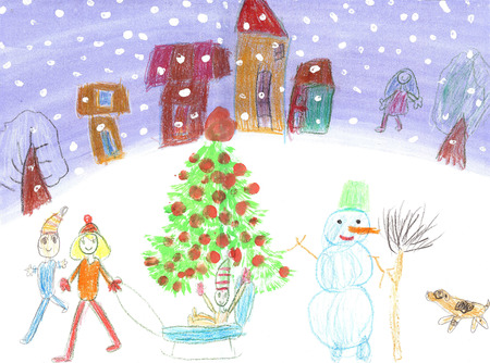 Aquarel Kinderen Drawing.Kids winter Sleigh Ride Stockfoto