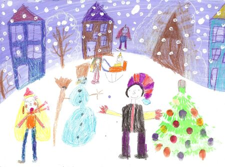 people having fun: Watercolor Children Drawing.Kids winter sleigh ride