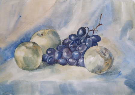 reflection of life: Still Life with apple and Grapes. Watercolor
