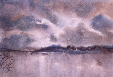 fog: Watercolor landscape. Clouds, fog over the lake