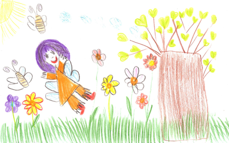 Children drawing fairy, bees, flowers