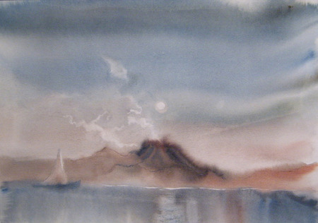 seascape: Yacht on the sea.Watercolor painted drawing
