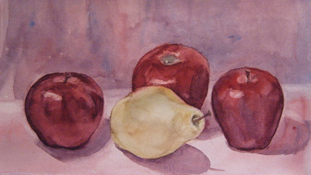 reflection of life: Still Life with apple and pear. Watercolor painting
