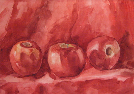 homely: Still Life with apple. Watercolor painting