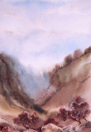 slope: Watercolor landscape. Tree, ravine, slope, mountains, bush