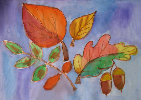 closer: Autumn leaves maple, oak, birch. Batik