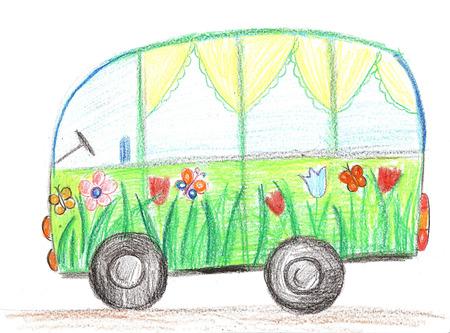 儿童绘图汽车。乘汽车驾驶。在纸的铅笔画