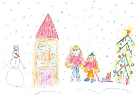Children Drawing. Kids winter sleigh ride, playing in winter