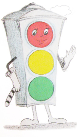 polite: Child drawing traffic light a polite and smiling