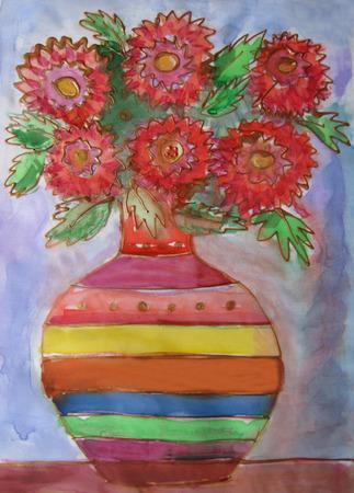 batik: Aquarelle dessin Batik. Vase avec d'un bouquet de fleurs
