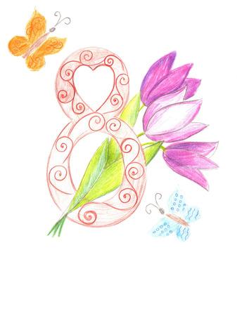 womens: Drawing International Womens Day celebration Stock Photo