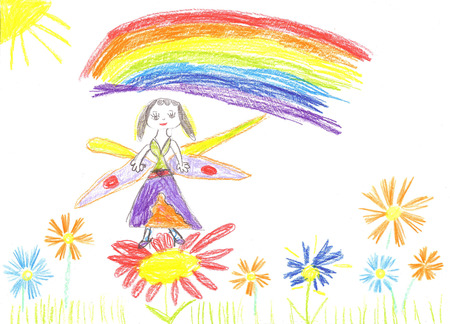 cinderella dress: Child drawing fairy. Cute fairy flying on a flower Stock Photo