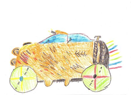 chauffeur: Child drawing car. Trip by car. Pencil drawing on paper