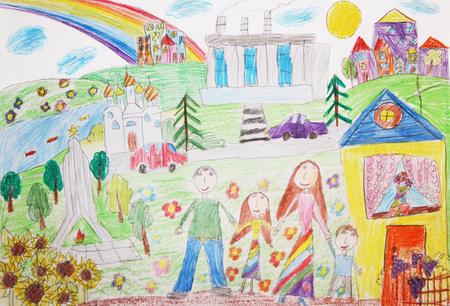 Dessin d'enfant de la famille. Famille heureuse avec deux enfants Banque d'images - 59439787