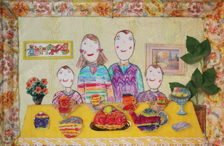 child's drawing: Childs drawing happy family with two children drink tea