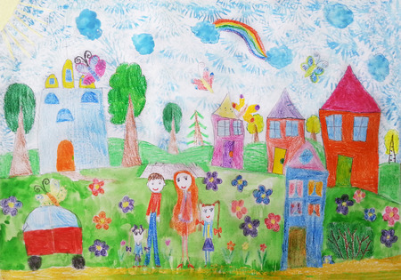 Child drawing.Happy family with two children for a walk