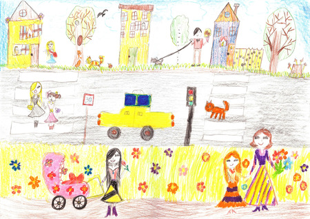 family outside house: Childs drawing happy family, road, carMother with a pram