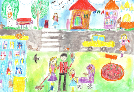 family outside house: Childs drawing happy family, road, car Mother with a pram