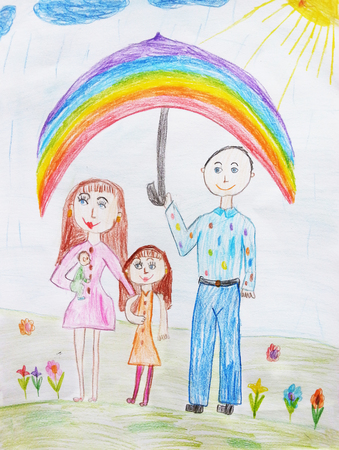 child's drawing: Childs drawing a happy family for a walk Stock Photo