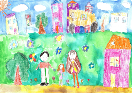 family park: Childs drawing happy family, building, car. Lives of people in the city Stock Photo