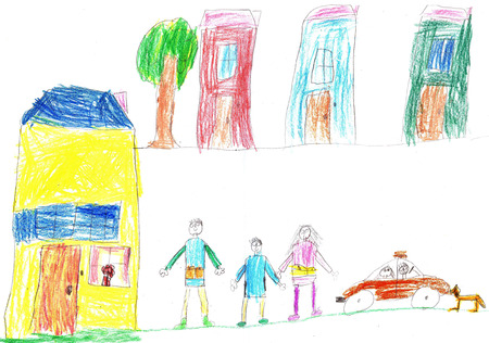 child's drawing: Childs drawing a happy family for a walk and car Stock Photo