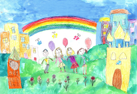 child's drawing: Childs drawing of family. Happy family with two children