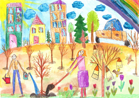 child's drawing: Childs drawing. The children planted a tree.