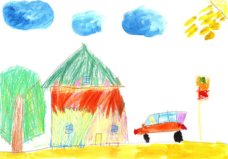 Child's tekening auto en country-house Stockfoto