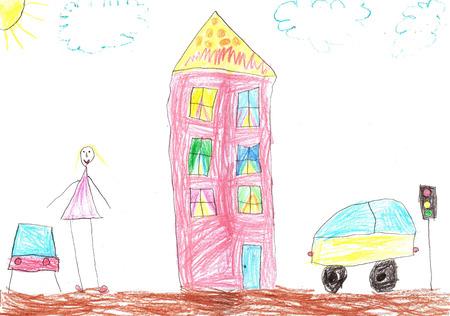 Kinderzeichnung eines glücklichen Mädchens Standard-Bild