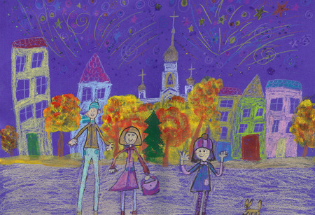 child's drawing: Childs drawing happy family watching fireworks outdoors