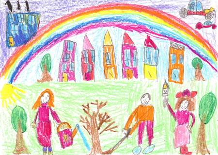 planted: Childs drawing. The children planted a tree.