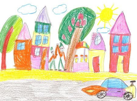 Childrens drawing of the racing car and spectators