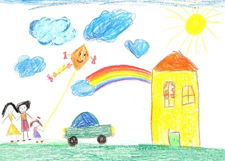 Kinder Zeichnung glückliche Familie, Landhaus und Auto