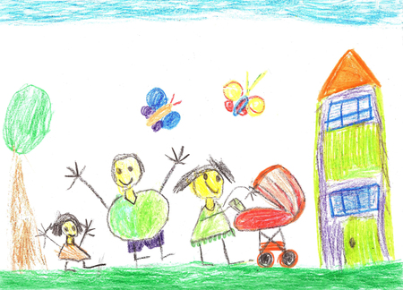 Child drawing. Happy family with a baby carriage Фото со стока