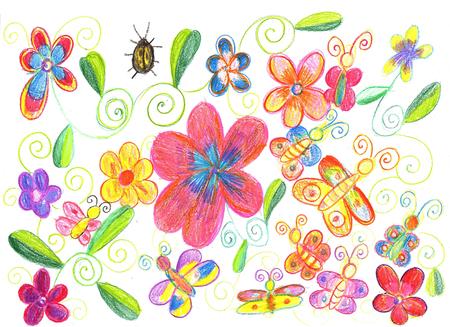 Le dessin de l'enfant est le papillon, la marijuana et la nature des fleurs