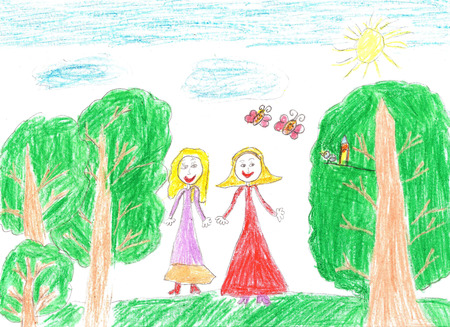 Childs drawing happy family for a walk outdoors Stock Photo