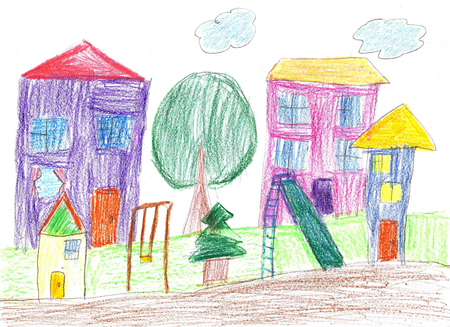 Child's drawing. House, tree, swing and bench Foto de archivo
