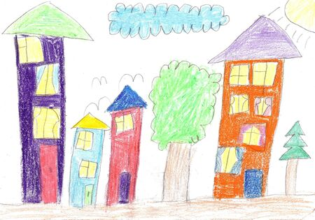 Childs drawing. House, tree, swing and bench