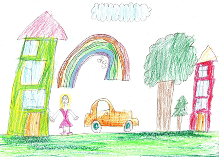 Childrens drawing of a car and a country house