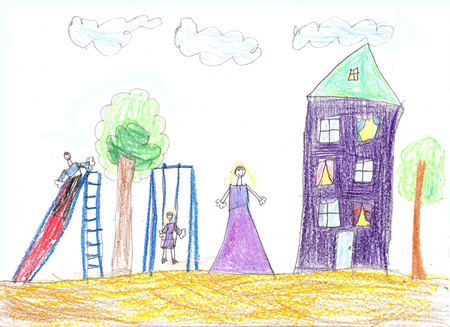 Childs  drawing  family. House, tree, swing and bench Stock Photo