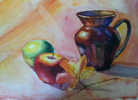 Still Life with Jug, apple and maple leaf. Watercolor painting