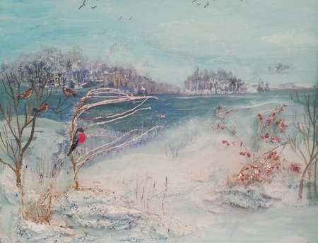 Oil painting, winter trees, river and birds.Landscape Banco de Imagens