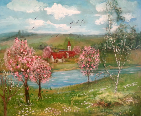 Summer landscape, trees, river and rural houses – painting