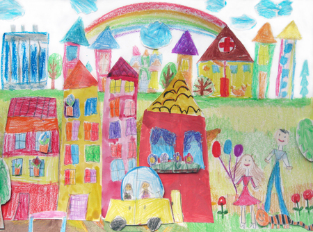 Childs drawing of the buildings and cars. Happy family on a walk Stock Photo