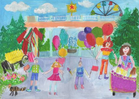 Childs drawing of the Celebration with Clown with Pack of Balloons and Ferris Wheel. Happy family on a walk