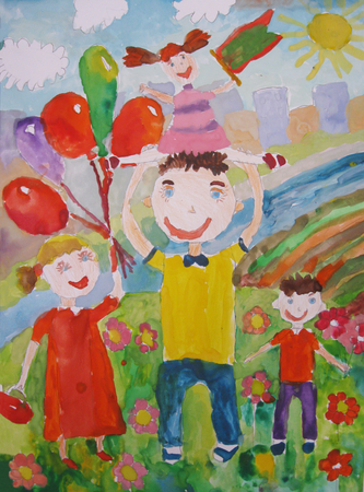 Childs drawing happy family for a walk outdoors.Sits On Father Shoulders