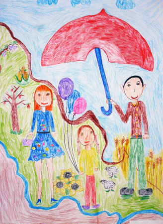 Childs drawing a happy family for a walk Stock Photo